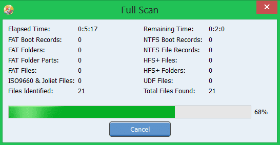 Scan for files to recover