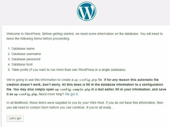 Wordpress Installation page - install WordPress locally with ampps on windows