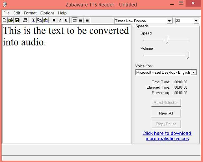 Zabaware Text to voice converter for windows
