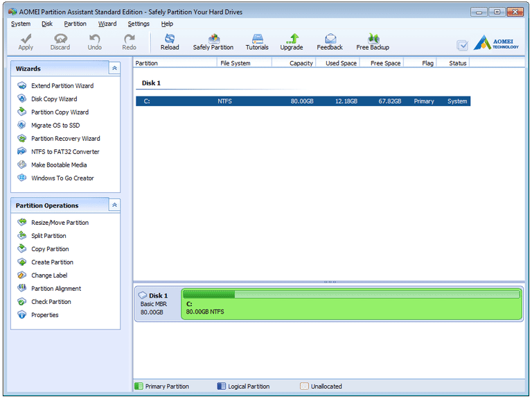 AOMEI partition assistant  - partitioning software review