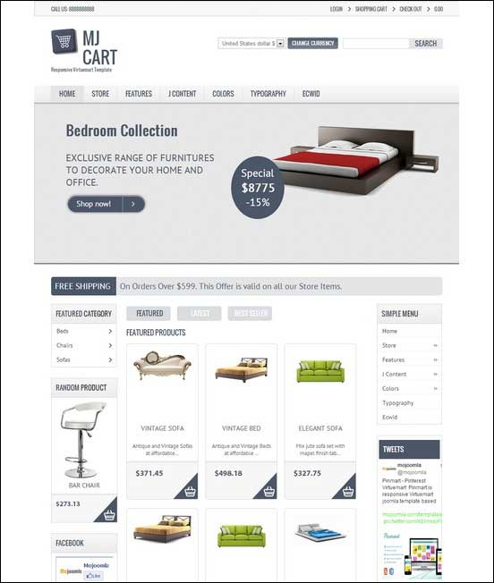 MJCart Joomla VirtueMart Template