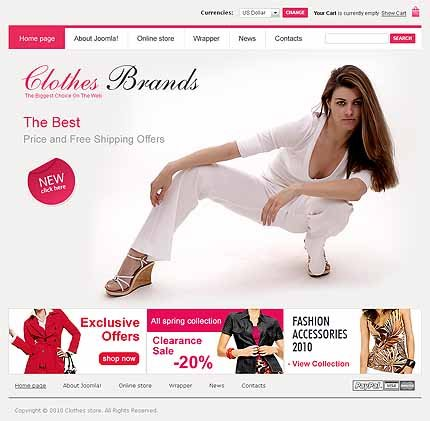 Clothes VirtueMart joomla Template: