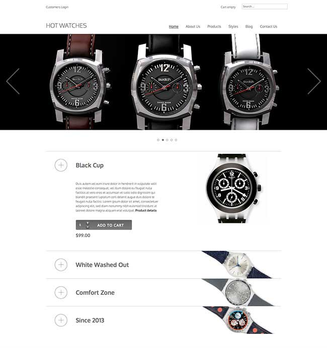 Hot watches VirtueMart Joomla Template