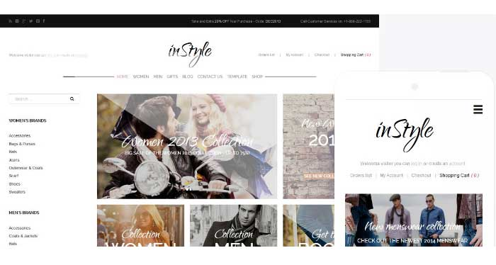 In style e-commerce VirtueMart Template