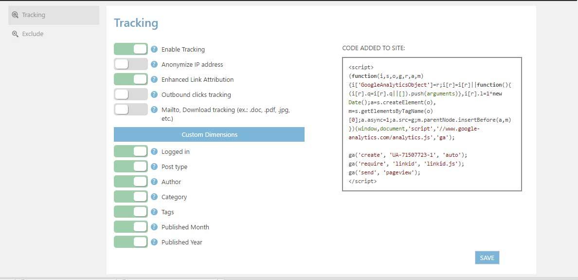 Tracking using Google Analytics WD plugin