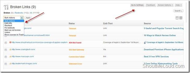 WordPress Website broken link finder