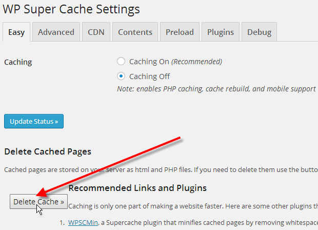 Clear your cache memory of cache plugin