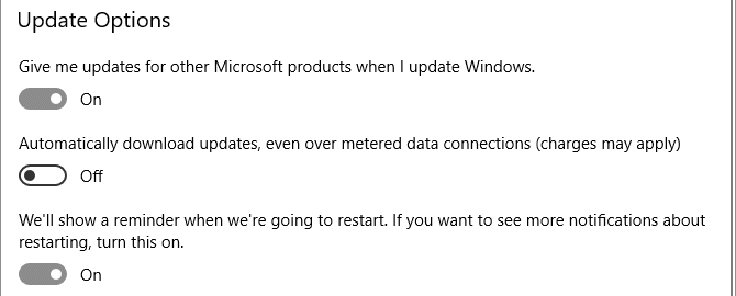 update windows 10 options