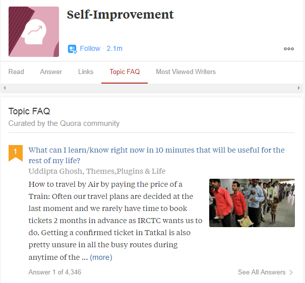Self Improvement Topic quora