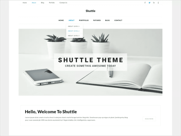 Shuttle WordPress Themes for Writers