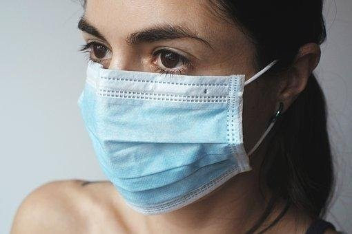 A woman wearing a protective mask during the COVID-19 pandemic