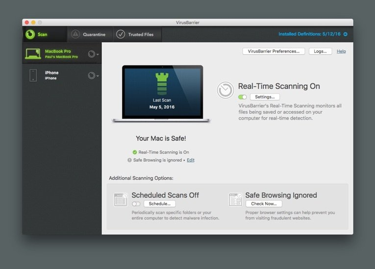 Antivirus scanning Mac
