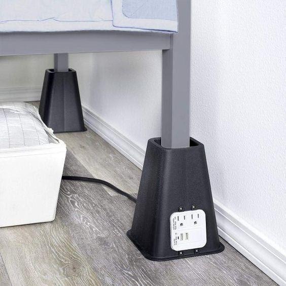 bedroom organization ideas-bed risers with outlet and usb port | Bed Riser  #decor #homedecor #bedroom #furniture #bedriser #mattressnut