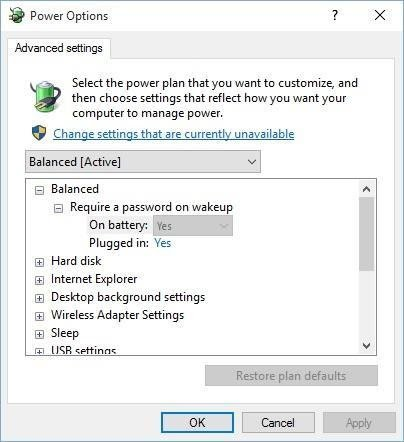Power Options: Edit Plan Settings & Advanced Settings - - Microsoft  Community