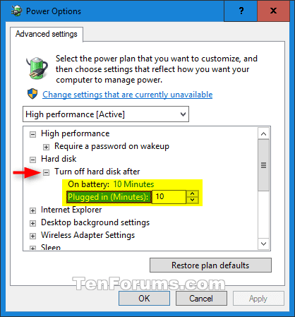 Turn Off Hard Disk After Idle in Windows 10 | Tutorials